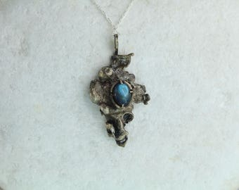 UK Hallmarked Sterling Silver and Labradorite Pendant One of a Kind