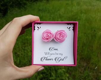 will you be my flower girl earrings flower girl gift flower girl proposal will you be my flower girl gift will you be our flower girl