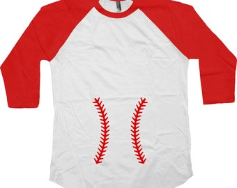 Funny Pregnancy T Shirt Expecting Announcement Baby Shower Shirt Maternity Gifts For New Mom New Baby 3/4 Sleeve Baseball Raglan Tee - SA667