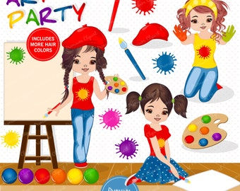 Painting party clipart, Girl clipart, Art party clipart, Little artist clipart, Digital images - CA497