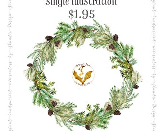 watercolor clipart, CHRISTMAS wreath clipart, watercolor wreath clipart, pinecone wreath clipart, scrapbooking, Wedding Invitation clipart