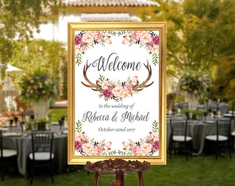 Wedding Welcome Sign Printable Welcome To Our Wedding Floral Wedding Sign Wedding Welcome Sign Wedding Decoration Romantic Wedding Antlers