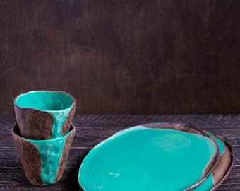 Two cups and plates turquoise set, japanese pottery, rustic tea set, raku cup, minimalist cup, wabi sabi cups, coffee cup, dinner set, urban