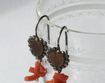 Victorian religious votive coral and sterling heart earrings