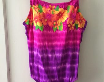 Purple and Pink Tie Dye Bathing Suit - Size 16 XL Kathy Ireland Vintage 90s Tropical Swim Suit