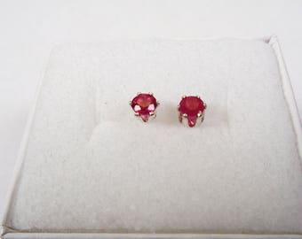 Very Nice 3.25mm. Natural Ruby Silver Stud Earrings.