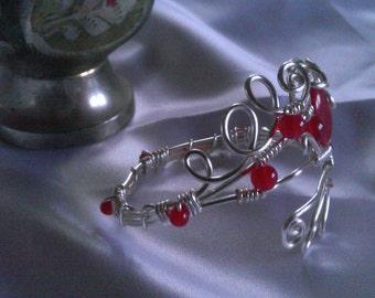 cooper bracelet , ruby beads bracelet , handmade jewelry , christmas pesent.