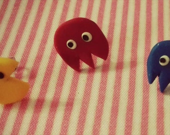 The Pacman and his ghosts made of fimo Earrings Pac man and Ghosts of polymer clay earrings