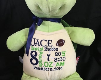 birth announcement stuffed animal, baby announcement plush animal, personalized stuffed animal, baby gift, monogrammed gift, Cubbie, turtle