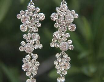 clear rhinestone dangle earrings, drop earrings, rhinestone pageant/prom earrings, bridal rhinestone earrings
