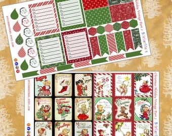 Christmas Holiday Part 2 Layout Planner Stickers Vintage Ephemera Style