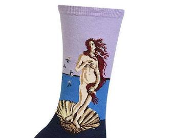 Art Socks - The Birth of Venus by Botticelli  - Purple - Turquoise-  Women's Crew Socks - Fine Art Socks
