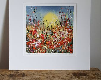 Framed Print. Beautiful abstract floral print taken from my original painting 'You make me smile' 30 x 30 cm frame.