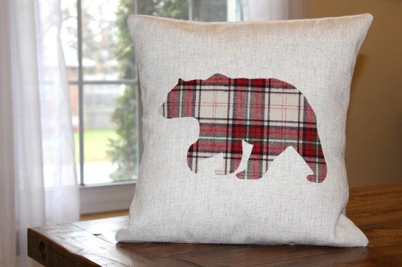 Bear Throw Pillow Covers : Bear Pillow Cover Bear Throw Pillow Plaid Pillow Cover