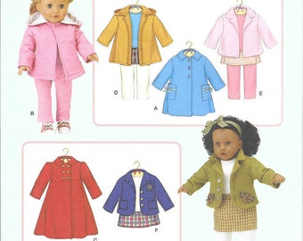 Simplicity 3551 - 18 inch doll clothes - Elaine Heigl Designs - Coats both short and long, skirt and leggings - NIP - Uncut