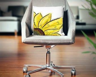 Yellow Flower Throw Pillow, Sunflower Pillow, Sunflower Throw Cushion, Yellow Flower Home Decor, Yellow Flower Decor Gift, Sunflower Decor