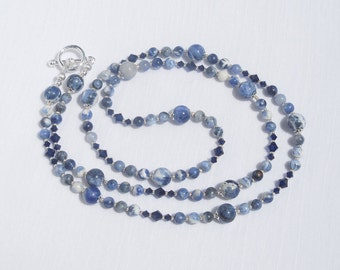 Sodalite and Swarovski crystal long necklace