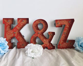 RED Hand-Painted Marquee Metal Letter Adorned with Henna Designs Bohemian Moroccan Decor Weddings Parties Bridal Showers Home Decor