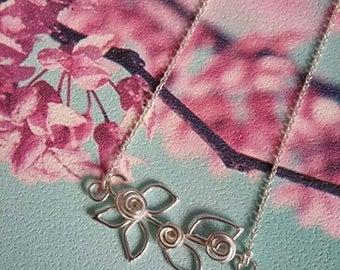 Rose Branch Necklace - Rose Necklace - Silver Floral - Bar Necklace - Silver Bar Necklace - On Trend - Handmade Jewellery - Rose Necklace-UK