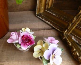Pair of Coalport Fine Bone China Country Garden Flower Ornaments