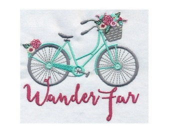 Wander Far Bicycle with flowers Embroidery Design - Instant Digital Download