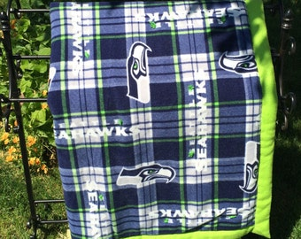 Seattle Seahawks 3 layer Fleece Blanket (Blue and Green Plaid Pattern, Neon Green or Dark Blue Backing Available)