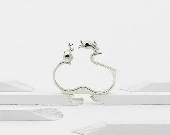 Ambition (Sterling Silver 3D Printed Two Finger Rabbit Ring)