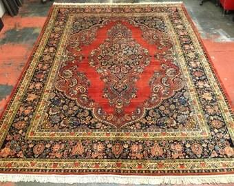 """Antique Persian Sarouk Rug 10'7"""" x 14'1"""" Elegant Floral Paisley Masterpiece c.1920s"""