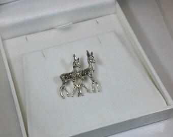 Brooch deer silver 835 Markasiten antique SB225