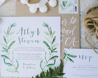 Rustic Invitation, Olive Wreath Invitation, Rustic Olive Invite, Winery Invitation, Olive Laurel Invitation, Rustic Save the Date - DEPOSIT