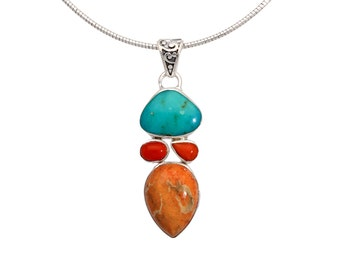 Coral necklace, turquoise necklace, sterling silver, gemstone necklace, orange necklace, coral jewelry, coral pendant, statement necklace