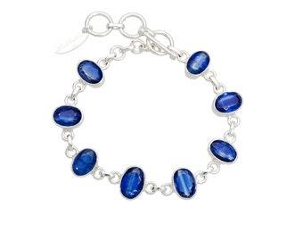 Kyanite Bracelet, sterling silver, gemstone bracelet, kyanite jewelry, blue kayanite, healing braclelet, blue bracelet, yoga bracelet