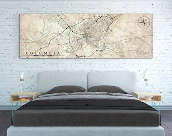 COLUMBIA SC Canvas Print Columbia sc South Carolina Vintage city map Horizontal Wall Art Vintage Long Bedroom Decor poster panoramic map