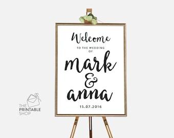Wedding welcome sign, Wedding ceremony welcome sign, Welcome sign wedding, Printable signs, Wedding decor, Ceremony decor, Black and white