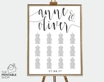 Wedding seating chart printable, Seating chart wedding, Wedding reception decor, Table chart, Seating chart printable, Wedding stationery