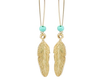 Gold Feather earrings, turquoise stone, long Fishhook earring, long earring, turquoise earring, gold Earring, Women's Gift for Her, Mom Gift