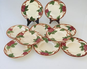 Franciscan Apple Pattern Bread Plates Set Of 10