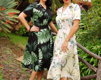 1940s style rayon dress in tropical hibiscus or monstera and fern leaf rayon