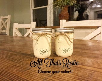 Salt and Pepper Shakers, Mason Jar Salt and Pepper Shakers, Painted Mason Jars, Kitchen & Dining, Rustic Home Decor, Mason Jar Decor, Gifts