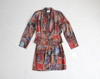90s skirt suit | mini skirt suit | ethnic print suit
