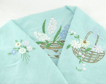 """Small Vintage Embroidered Tablecloth - Hycinth's and Daisy Baskets - 34"""" x 32"""" - Hand Embroidered Tea Cloth - Tea Party or Afternoon Tea"""