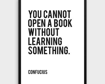 Literature Poster | Learning Quote, Books, Typographic Print, Inspirational Poster, Literary Poster, Confucius, Book Quote, Literary Poster