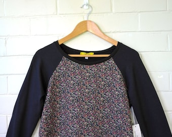 Black Bamboo + Organic Cotton and Liberty of London Fleece Long Sleeve Raglan Sweater in Black +Hot Pink Floral.