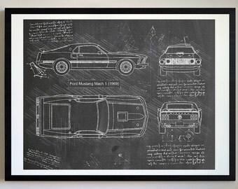 Ford Mustang Mach 1 (1969) Da Vinci Sketch, Mustang Artwork, Blueprint Patent Prints Posters, Mustang Decor, Art, Car Art, Cars (#175)