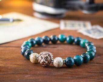 8mm - Greenish chrysocolla and jasper stone beaded stretchy bracelet w/ rose gold Lion , custom bracelet, womens bracelet, mens bracelet