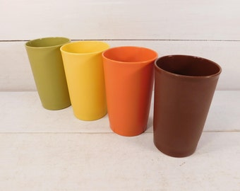 Vintage Set of 4 Tupperware Tumblers, Drinking Glasses, Tupperware Cups