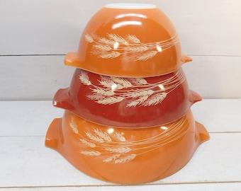 Vintage Pyrex Autumn Wheat Cinderella Nesting Mixing Bowls, Orange Pyrex