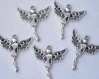 3 Pcs Fairy Charms Angel Charms Pendants Antique Silver Tone 30x35mm - YD1449