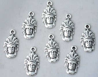 12 Pcs Indian Charms Native American Charms Pendants Antique Silver Tone 20x10mm - YD1679