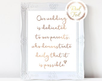 Sentimental Wedding Sign, Copper Foil Print, Our Wedding Is Dedicated, Wedding Reception Decor, Wedding Sign, For Parents, S2